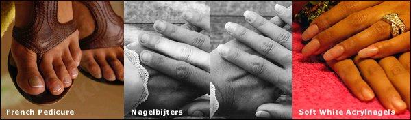 voorbeelden acrylnagels, french pedicure